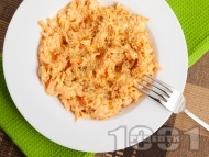 Морковена салата със синьо сирене, майонеза и лимонов сок